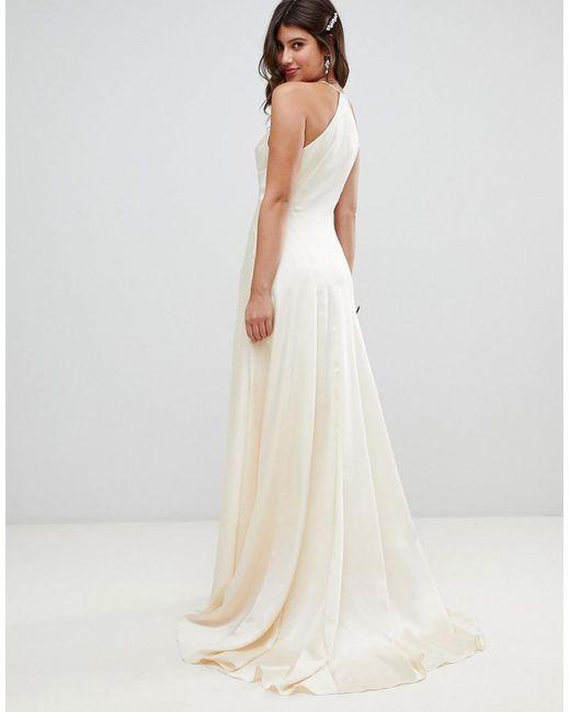 Asos Wedding Dress.Women S Natural Satin Panelled Wedding Dress With Fishtail