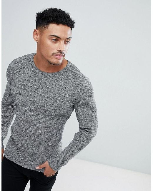 051f230e ASOS Muscle Fit Ribbed Jumper In Black & White Twist in Gray for Men ...