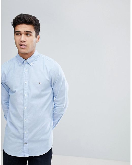 e2d1465c190 Tommy Hilfiger - Oxford Shirt With Stretch In Slim Fit In Blue for Men -  Lyst ...