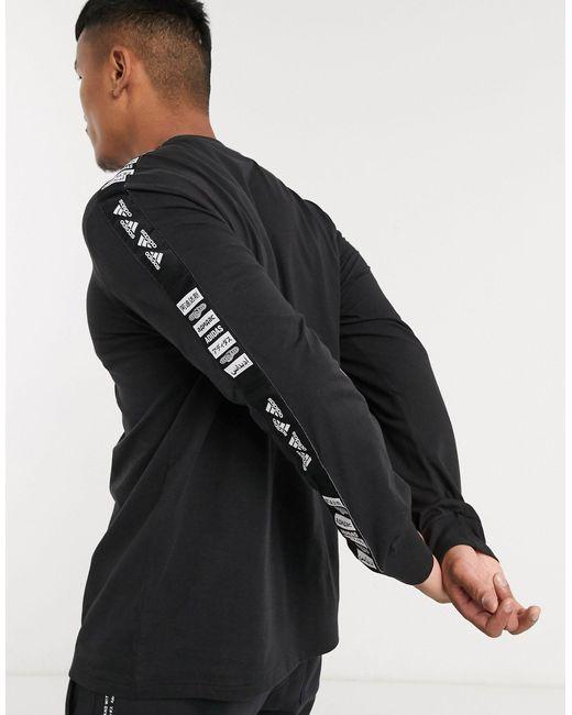 Черный Лонгслив С Фирменной Лентой Adidas Training-черный Цвет Adidas Originals для него, цвет: Black