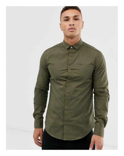 Облегающая Рубашка Хаки С Длинными Рукавами И Окантовкой -зеленый Emporio Armani для него, цвет: Green