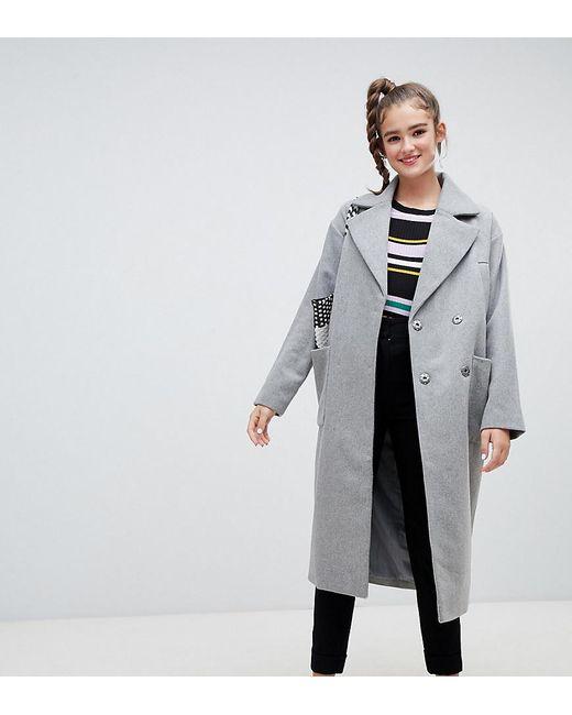 c9bb33f2703 Monki - Gray Longline Recycled Wool Blend Coat In Grey - Lyst ...
