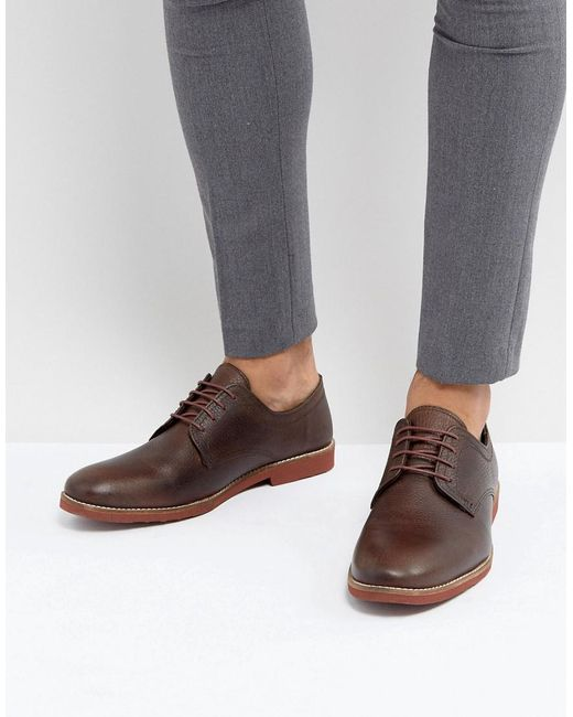 Red Tape | Derby Shoes In Milled Brown Leather for Men | Lyst