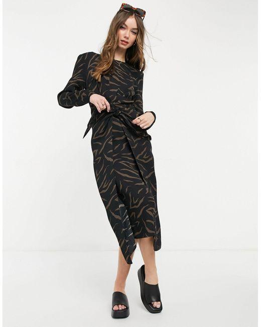 Платье Миди С Длинными Рукавами И Завязкой На Поясе -многоцветный & Other Stories, цвет: Black