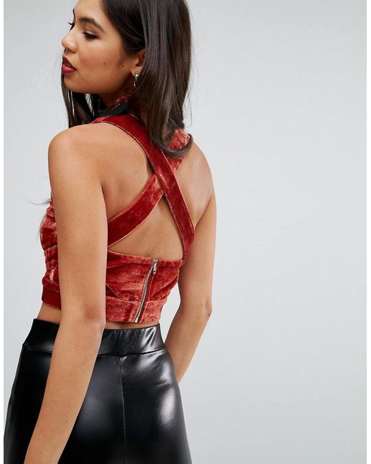 Strappy Back Velvet Top - Orange Missguided Nicekicks Cheap Online Visit For Sale vcstr
