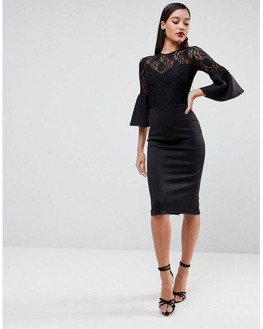 ASOS - Black Asos Lace Top Fluted Sleeve Bodycon Midi Dress - Lyst