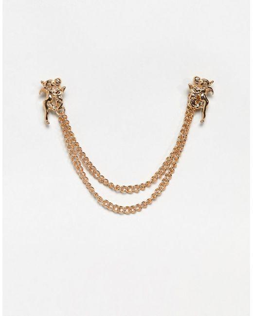 ASOS - Metallic Cherub Collar Tips In Gold Tone for Men - Lyst