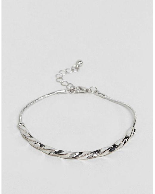 ASOS | Metallic Twist Bar Chain Bracelet | Lyst