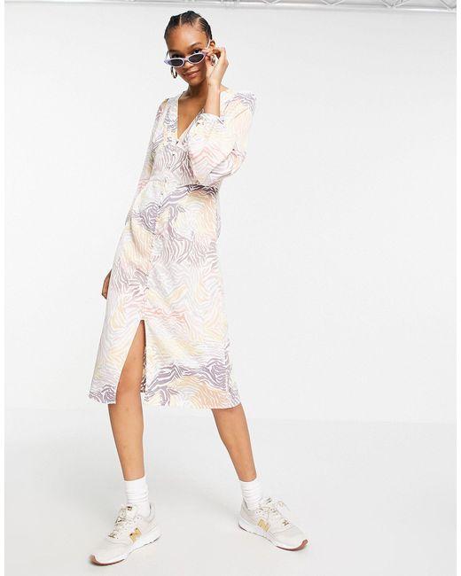 Платье Миди С Объемными Рукавами, Разрезом Сбоку И Звериным Принтом -многоцветный Y.A.S, цвет: Multicolor