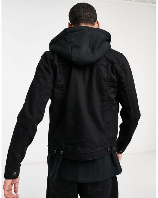Черная Джинсовая Куртка Скинни С Капюшоном ASOS для него, цвет: Black