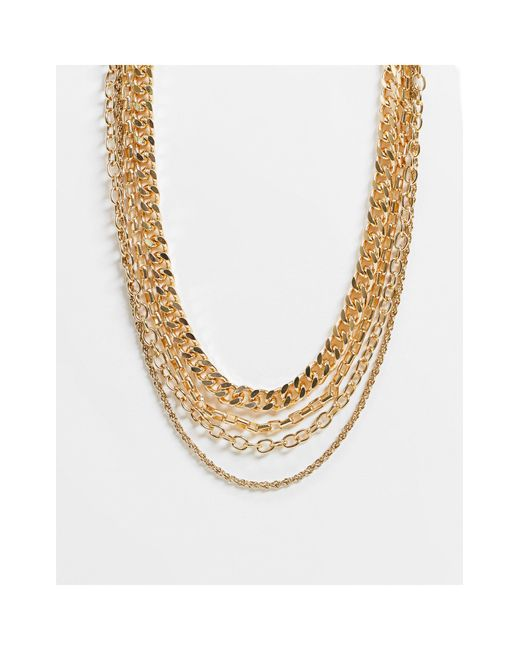 Золотистое Ярусное Ожерелье Из Цепочки С Разными Звеньями -золотистый Pieces, цвет: Metallic