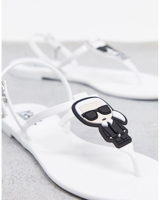 Karl Lagerfeld White 'Karl Icon' Sandalen