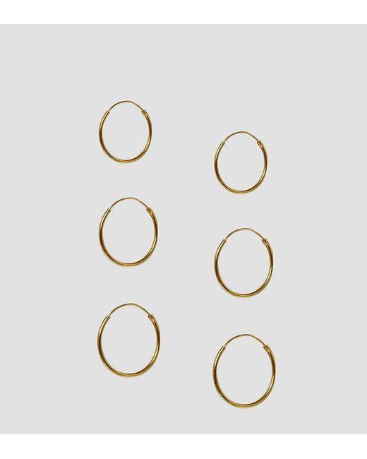 ASOS - Metallic Pack Of 3 Gold Plated Sterling Silver Hoop Earrings - Lyst