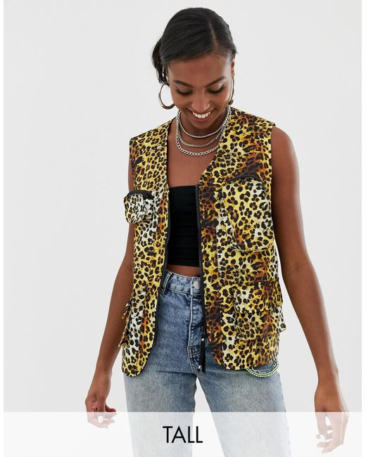 Collusion Multicolor Tall Leopard Print Sleeveless Utility Gilet