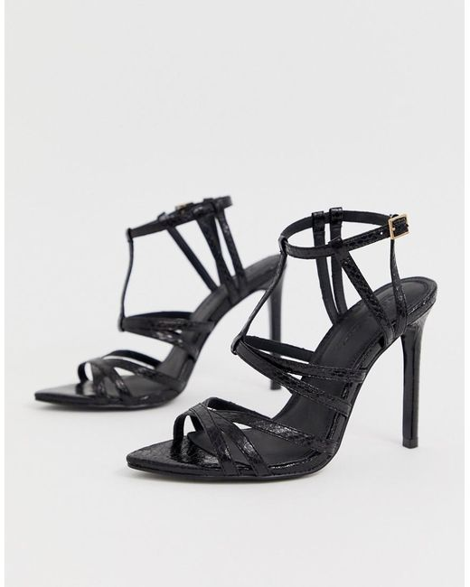 5cc84673f03a9 ... ASOS - Black High Maintenance Strappy Pointed Heeled Sandals - Lyst