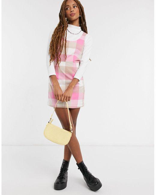 Розовое Платье Мини В Клетку Hanna-розовый Monki, цвет: Pink