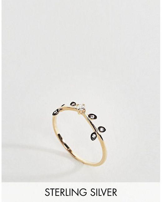 Regal Rose - Metallic Whisper Crystal Leaf Ring - Lyst