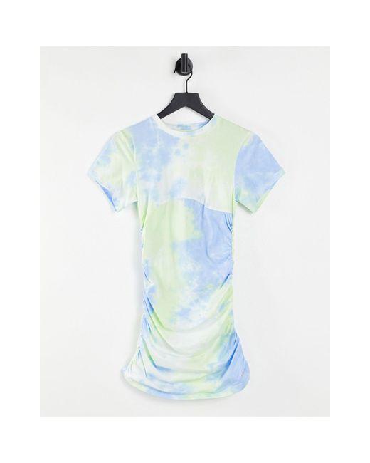 Robe courte effet tie-dye froncée sur les côtés The Couture Club en coloris Blue