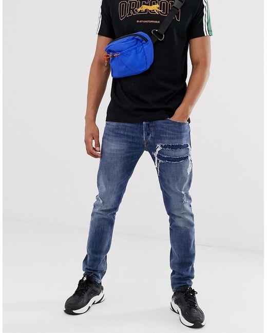 Angebot großer Rabattverkauf wähle das Neueste Men's Blue Tepphar X Slim Carrot Fit Rip And Repair Jeans In 0890x Mid Wash