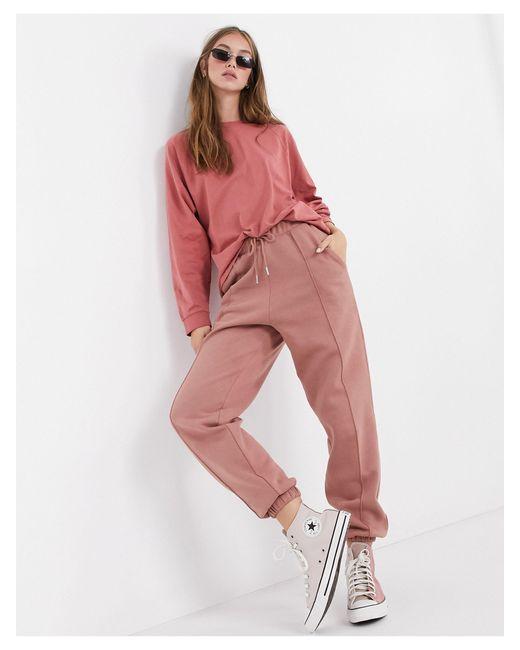 Joggers extragrandes con pinzas en rosa mix & match ASOS de color Multicolor