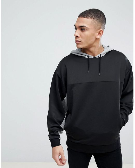 ASOS - Black Oversized Longline Retro Track Hoodie With Colour Blocking for Men - Lyst