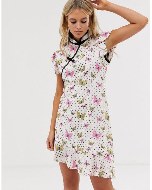 Sister Jane White Mini Dress With Peplum Hem And frogging In Butterfly Spot