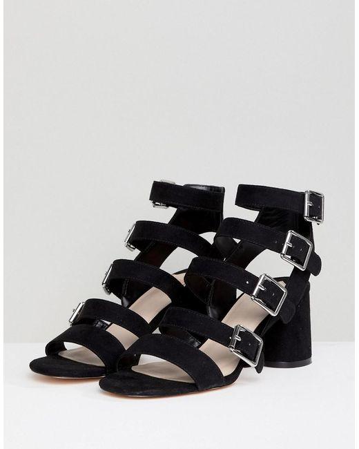 Buckle Block Heeled Sandals - Black Faith BnRAimzO