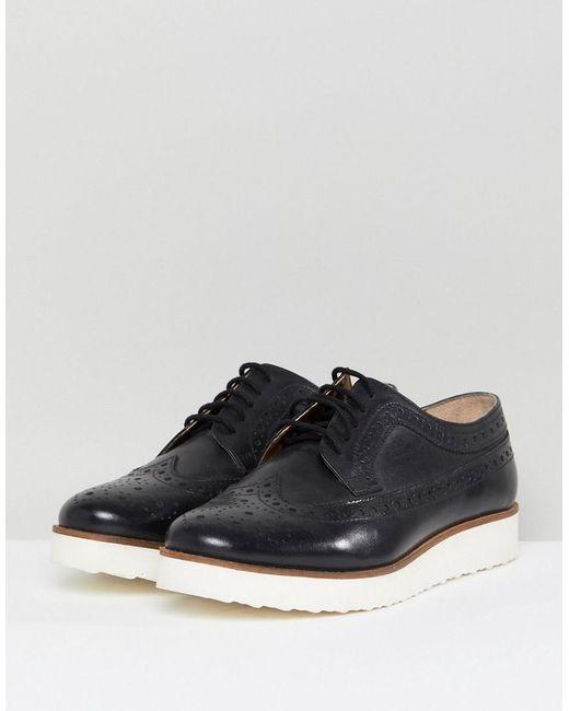 Asos Marce Cuir Chaussures Plates - Noir vgqVokM