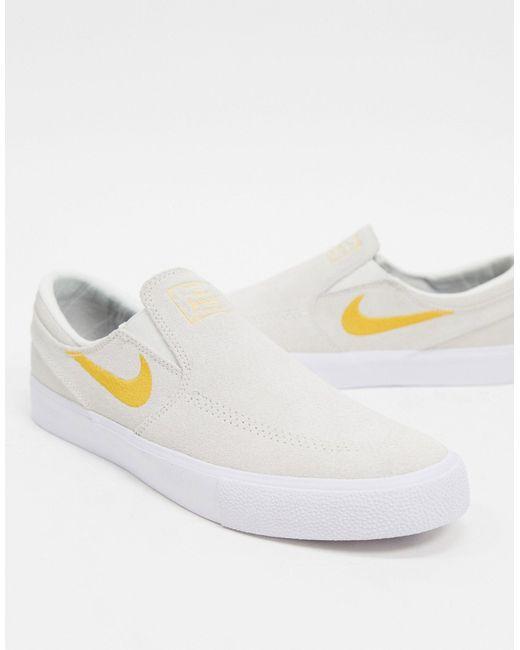 Nike White Zoom Janoski Slip-on Trainers for men
