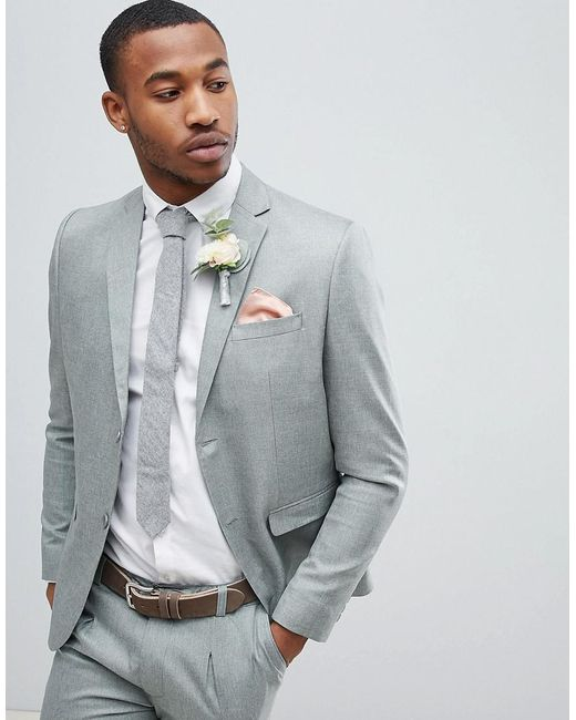 8076db191795a BoohooMAN Wedding Slim Fit Suit Jacket In Gray in Gray for Men - Lyst
