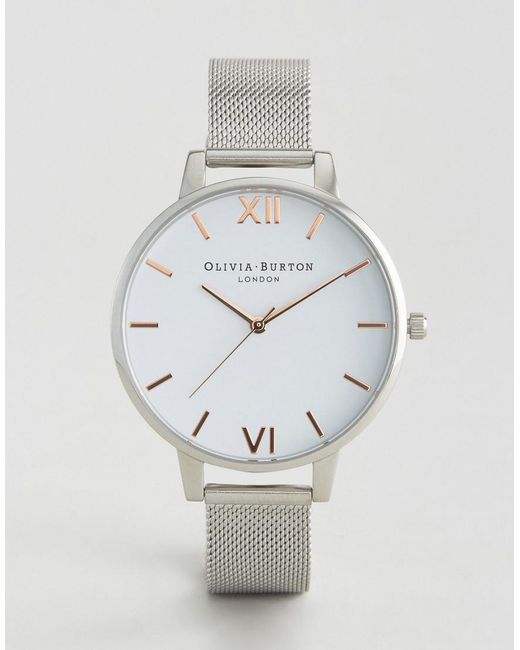 Olivia Burton - Metallic Silver Large White Dial Mesh Watch - Lyst