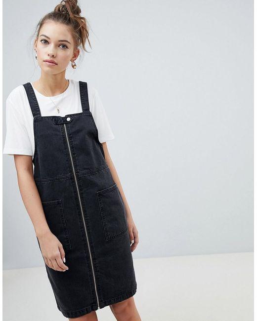 ONLY - Black Zip Through Denim Pini Dress - Lyst