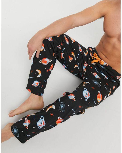 Пижамные Брюки С Космическим Принтом ASOS для него, цвет: Black