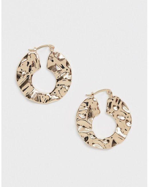 ASOS Metallic Hoop Earrings In Abstract Hammered Metal Design In Gold