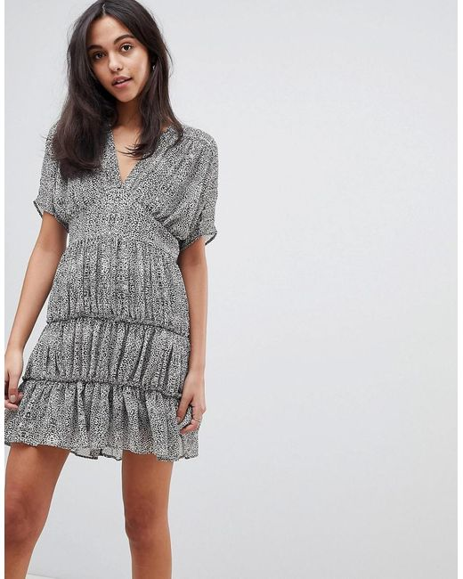 ASOS DESIGN - Gray Animal Soft Mini Dress With Tiers - Lyst