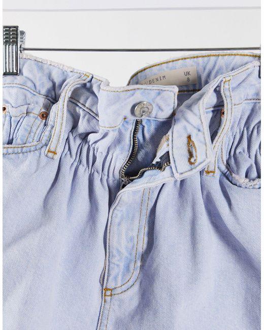 Голубые Джинсовые Шорты С Присборенной Талией ASOS, цвет: Blue