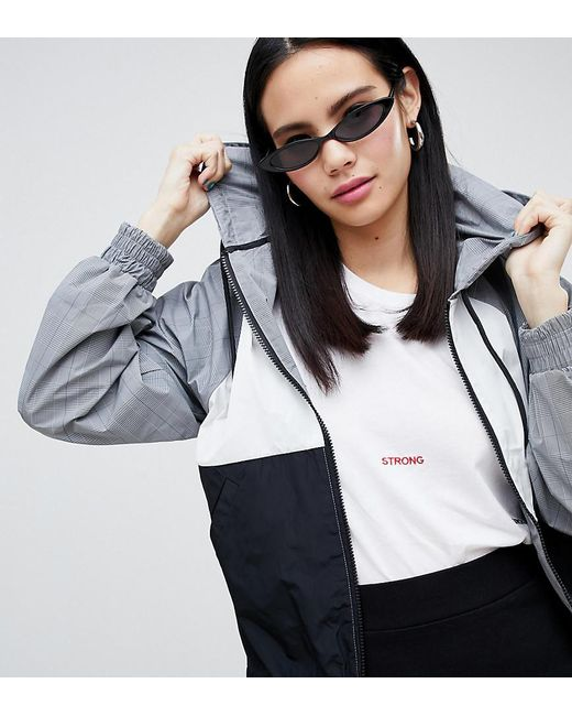 Monki - Hooded Check Jacket In Grey And Black - Lyst