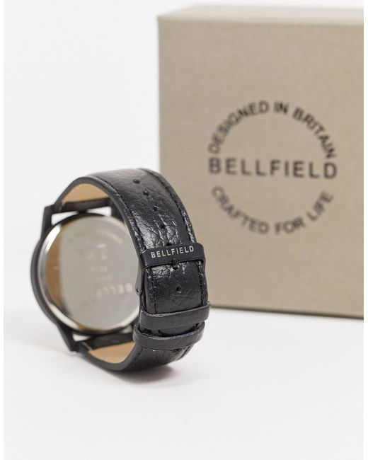 Часы С Белым Циферблатом И Черным Ремешком -черный Bellfield для него, цвет: Black