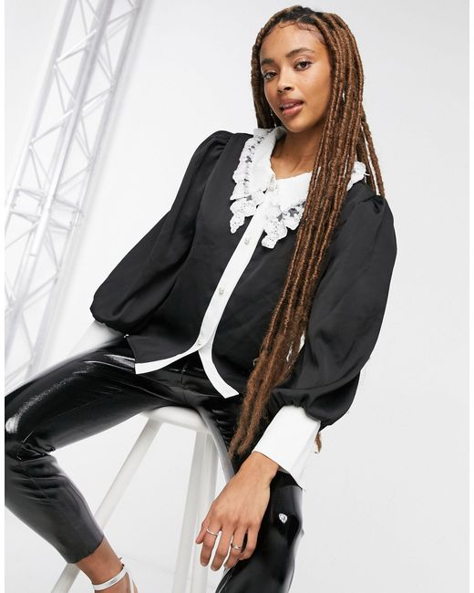 Черная Свободная Блузка С Украшением На Контрастном Воротнике -черный Цвет Sister Jane, цвет: Black