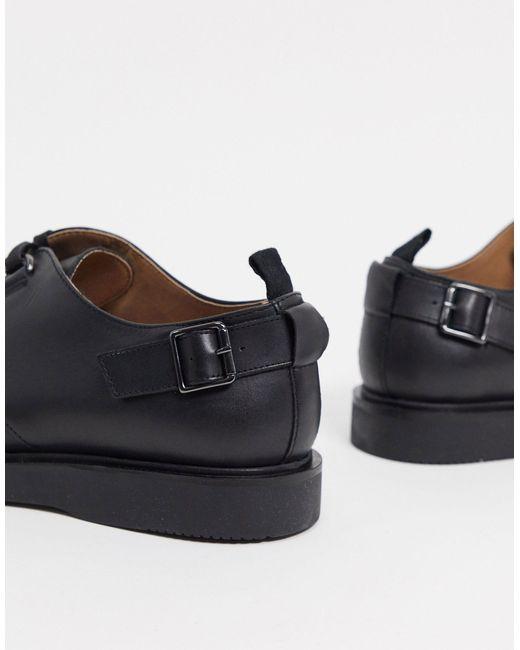 Черные Кожаные Туфли На Шнуровке С Пряжками -черный H by Hudson для него, цвет: Black