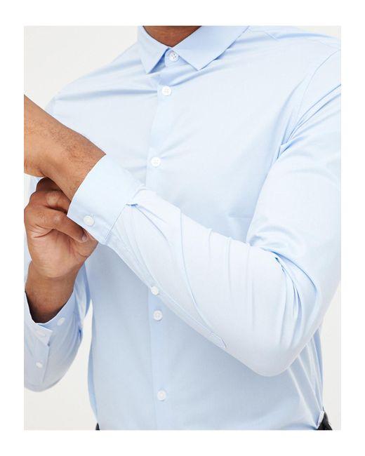 Tall - Chemise style workwear habillée et ajustée ASOS pour homme en coloris Blue