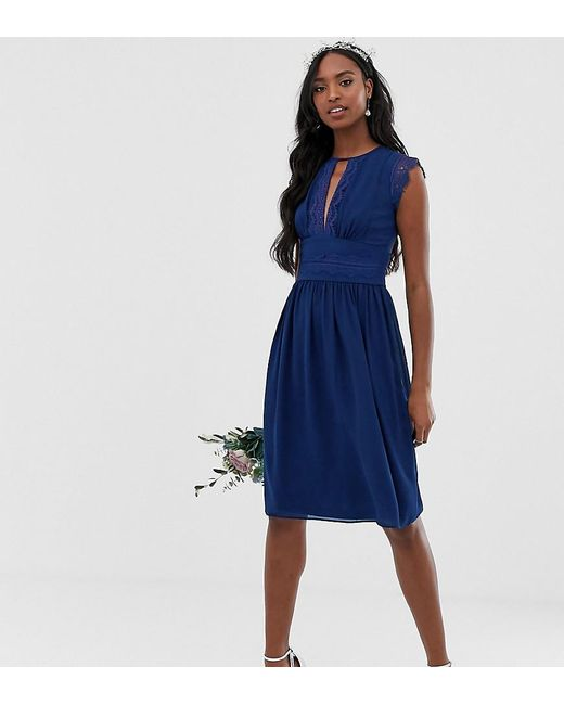 644789e16f TFNC London - Blue Lace Detail Midi Bridesmaid Dress In Navy - Lyst ...