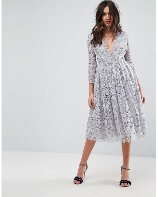 f23eaa6eb91 ASOS - Gray Long Sleeve Lace Midi Prom Dress - Lyst ...