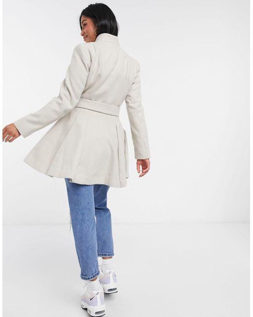 Светло-бежевое Пальто С Поясом Sos Design Petite-светло-бежевый ASOS, цвет: Multicolor