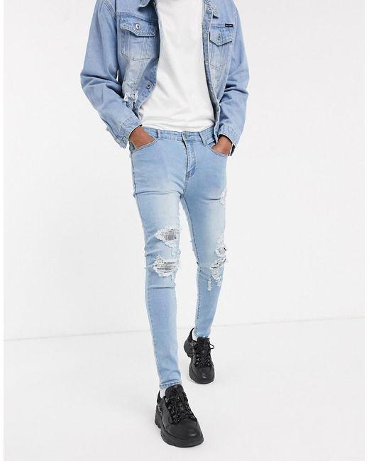Jean skinny avec déchirures à carreaux - délavé Liquor N Poker pour homme en coloris Blue