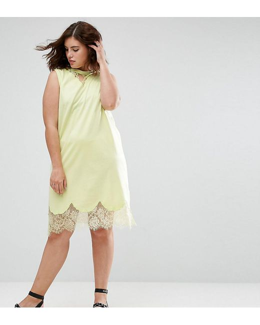 ASOS | Yellow Sleeveless T-shirt Dress With Lace Inserts | Lyst