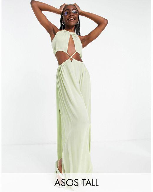 ASOS Multicolor Asos Design Tall Cross Waist Halter Maxi Beach Dress