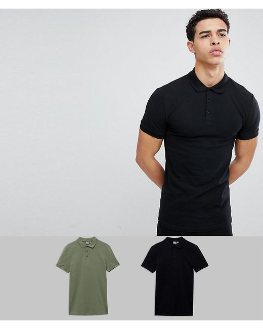 ASOS - Black Muscle Fit Pique Polo 2 Pack Save for Men - Lyst