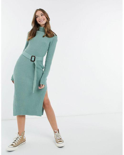 X Billie Faiers - Robe en maille à col roulé et ceinture - cendré In The Style en coloris Green
