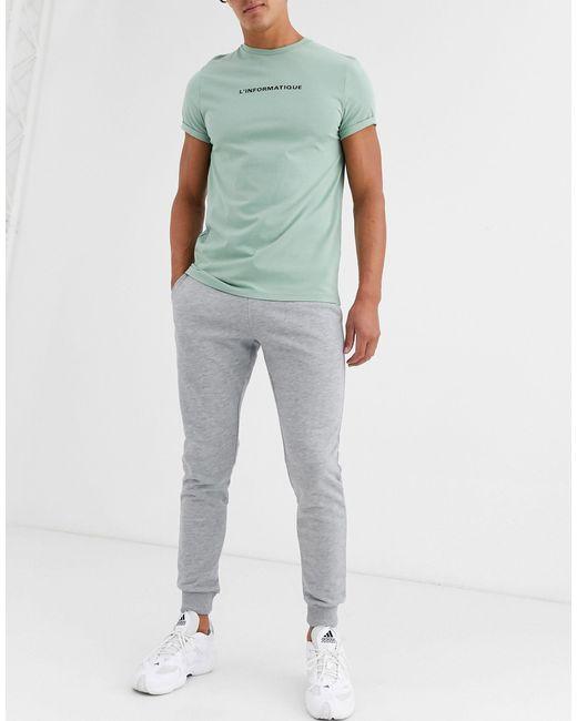 Серые Меланжевые Джоггеры Скинни ASOS для него, цвет: Gray